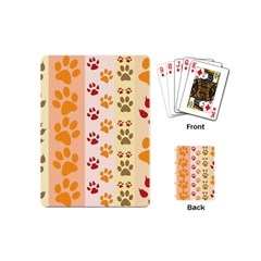 Paw Print Paw Prints Fun Background Playing Cards (mini)