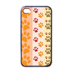 Paw Print Paw Prints Fun Background Apple Iphone 4 Case (black)