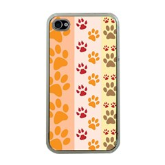 Paw Print Paw Prints Fun Background Apple Iphone 4 Case (clear)
