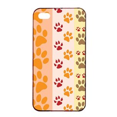 Paw Print Paw Prints Fun Background Apple Iphone 4/4s Seamless Case (black)