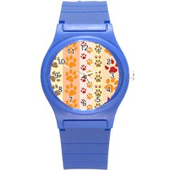 Paw Print Paw Prints Fun Background Round Plastic Sport Watch (s)