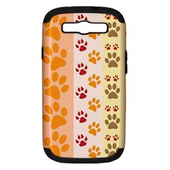 Paw Print Paw Prints Fun Background Samsung Galaxy S Iii Hardshell Case (pc+silicone)
