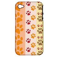 Paw Print Paw Prints Fun Background Apple Iphone 4/4s Hardshell Case (pc+silicone)