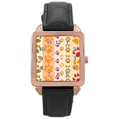 Paw Print Paw Prints Fun Background Rose Gold Leather Watch