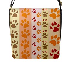 Paw Print Paw Prints Fun Background Flap Messenger Bag (l)