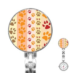 Paw Print Paw Prints Fun Background Stainless Steel Nurses Watch