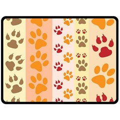 Paw Print Paw Prints Fun Background Double Sided Fleece Blanket (large)
