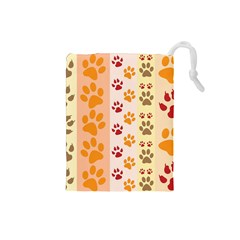 Paw Print Paw Prints Fun Background Drawstring Pouches (small)