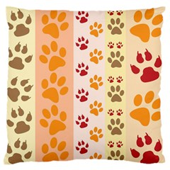 Paw Print Paw Prints Fun Background Large Flano Cushion Case (two Sides)