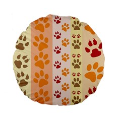 Paw Print Paw Prints Fun Background Standard 15  Premium Flano Round Cushions