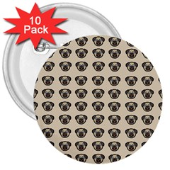 Puppy Dog Pug Pup Graphic 3  Buttons (10 pack)