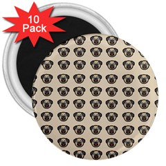 Puppy Dog Pug Pup Graphic 3  Magnets (10 pack)