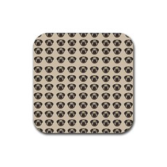 Puppy Dog Pug Pup Graphic Rubber Coaster (square)