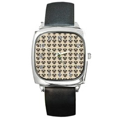 Puppy Dog Pug Pup Graphic Square Metal Watch
