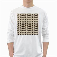 Puppy Dog Pug Pup Graphic White Long Sleeve T Shirts