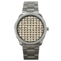 Puppy Dog Pug Pup Graphic Sport Metal Watch