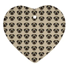Puppy Dog Pug Pup Graphic Heart Ornament (Two Sides)