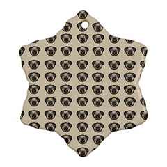 Puppy Dog Pug Pup Graphic Snowflake Ornament (two Sides)