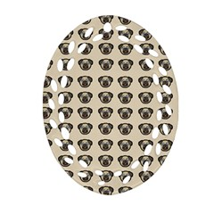 Puppy Dog Pug Pup Graphic Ornament (oval Filigree)
