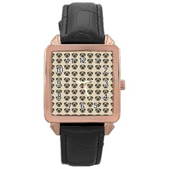 Puppy Dog Pug Pup Graphic Rose Gold Leather Watch