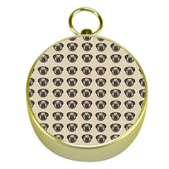 Puppy Dog Pug Pup Graphic Gold Compasses
