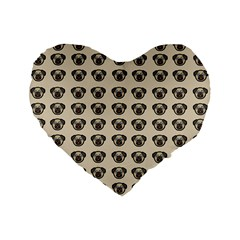 Puppy Dog Pug Pup Graphic Standard 16  Premium Flano Heart Shape Cushions