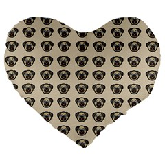 Puppy Dog Pug Pup Graphic Large 19  Premium Flano Heart Shape Cushions