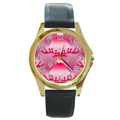 Seamless Repeat Repeating Pattern Round Gold Metal Watch