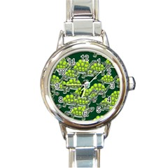 Seamless Tile Background Abstract Turtle Turtles Round Italian Charm Watch