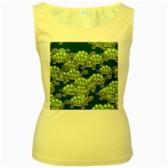 Seamless Tile Background Abstract Turtle Turtles Women s Yellow Tank Top