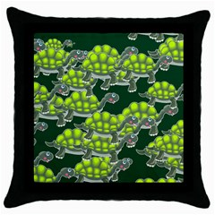 Seamless Tile Background Abstract Turtle Turtles Throw Pillow Case (black)