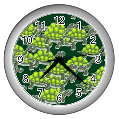 Seamless Tile Background Abstract Turtle Turtles Wall Clocks (silver)