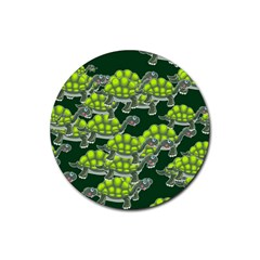 Seamless Tile Background Abstract Turtle Turtles Rubber Round Coaster (4 Pack)