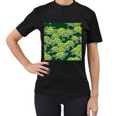 Seamless Tile Background Abstract Turtle Turtles Women s T Shirt (black) (two Sided)