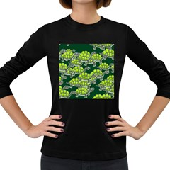 Seamless Tile Background Abstract Turtle Turtles Women s Long Sleeve Dark T-Shirts