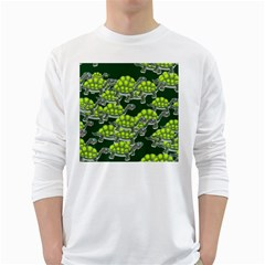 Seamless Tile Background Abstract Turtle Turtles White Long Sleeve T Shirts