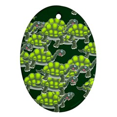 Seamless Tile Background Abstract Turtle Turtles Oval Ornament (two Sides)