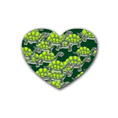 Seamless Tile Background Abstract Turtle Turtles Rubber Coaster (heart)