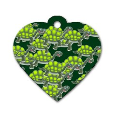 Seamless Tile Background Abstract Turtle Turtles Dog Tag Heart (one Side)