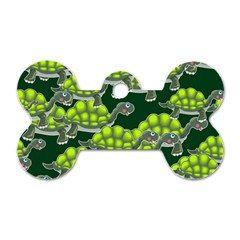 Seamless Tile Background Abstract Turtle Turtles Dog Tag Bone (one Side)