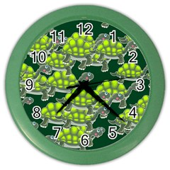 Seamless Tile Background Abstract Turtle Turtles Color Wall Clocks