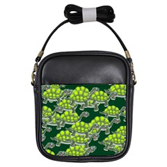 Seamless Tile Background Abstract Turtle Turtles Girls Sling Bags