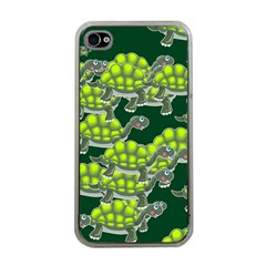 Seamless Tile Background Abstract Turtle Turtles Apple Iphone 4 Case (clear)
