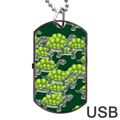 Seamless Tile Background Abstract Turtle Turtles Dog Tag Usb Flash (two Sides)
