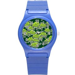 Seamless Tile Background Abstract Turtle Turtles Round Plastic Sport Watch (s)