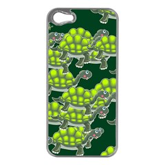 Seamless Tile Background Abstract Turtle Turtles Apple Iphone 5 Case (silver)