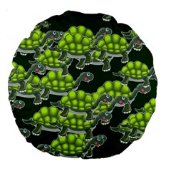 Seamless Tile Background Abstract Turtle Turtles Large 18  Premium Round Cushions