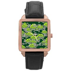 Seamless Tile Background Abstract Turtle Turtles Rose Gold Leather Watch