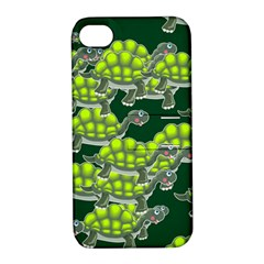 Seamless Tile Background Abstract Turtle Turtles Apple Iphone 4/4s Hardshell Case With Stand