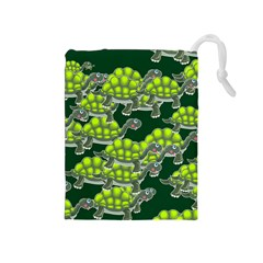 Seamless Tile Background Abstract Turtle Turtles Drawstring Pouches (medium)